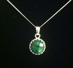 BEAUTIFUL Genuine Emerald Pendant Necklace by JasJacobsArtJewelry, $49.00