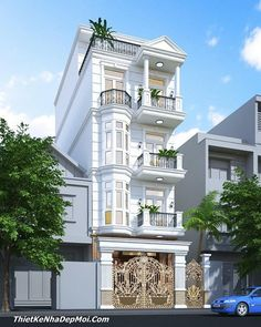 Showcase and discover the latest work from top online portfolios by creative professionals across industries. Brick House Designs, Narrow House Designs, Bungalow House Design, House Front Design, Small House Design, 3 Storey House Design, House Design Pictures, Modern House Facades, Classic House Design