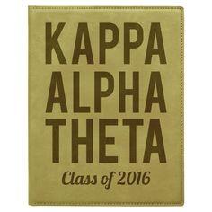 Custom Graduation Mini Leather Portfolio with Notepad - - LZR Kappa Alpha Theta, Sorority And Fraternity, Greek Gifts, Leather Portfolio, Custom Greek Apparel, Sorority Outfits, Bid Day, Graduation, Lettering