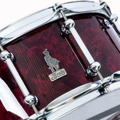 14 x 6.5 BRADY Jarrah Ply / cherry stained Australian Poplar Burl gloss snare drum.
