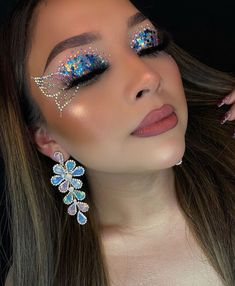 Eye Makeup Designs, Eye Makeup Art, Fairy Makeup, Glam Makeup, Skin Makeup, Glitter Makeup Looks, Pretty Makeup, Rave Makeup, Creative Makeup Looks