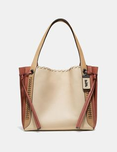 Coach Coach 1941 Whipstitch Colorblock Mixed Leather Harmony Hobo - I Hobo Bag, Leather Thread, Coach 1941, Signature, Coach Leather Cleaner, Hobo Style, Hobo Handbags, Soft Suede, Monogram
