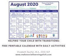 Zones Of Regulation, Self Regulation, Whole Body Listening, Free Calendar, Following Directions, Daily Activities, Speech And Language, Child Development, Back To School