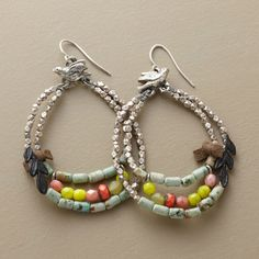 "Birds & Beads Hoop Earrings Sterling silver birds go 'round with semiprecious and Czech glass beads accented by suede and leather. Handcrafted in the USA. 2-1/4""L. $145"