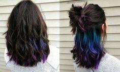 Hidden Hair Color, Hair Color For Black Hair, Purple Hair, Brown Hair, Hair Color Streaks, Hair Highlights, Hair Colour, Peekaboo Highlights, Peekaboo Hair Colors