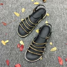 Women's Chain Strap Flat With Sandals Cheap Heels, Cheap Sandals, Cheap Sneakers, Cheap Boots, Navy Wedding Shoes, Trendy Sandals, Sorel Boots, Lee Jeans, Jelly Sandals