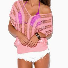 Pink Bikini Cover Up Top New size M/L pink bikini cover up top....See all items for sale we have the latest in fashion clothing, swimsuits, jewelry, sunglasses, makeup and more! Follow us to stay with the latest fashions daily!    #flawlessfashions04 Rima Imar Tops Tees - Short Sleeve