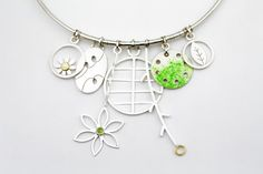 Silver and 18ct Necklace with enamel and peridot, Diana Greenwood