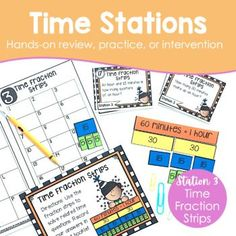 Time Stations are a fun, engaging, and meaningful way to review, practice, or provide intervention for the 3rd-grade time standards. This station kit is part of a 3rd-grade Bundle. Time stations are highly engaging and hands-on activities that utilize a variety of concrete models and visuals to help deepen student understanding.