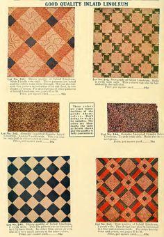 Inlaid linoleum patterns from 1908 catalog. Folk Victorian, Victorian Kitchen, Vintage Kitchen, Craftsman Interior, Craftsman Style, Linoleum Flooring, Kitchen Flooring, Floors, Cosy Kitchen