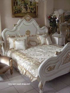 himmelbett bett antik wei barock engel gold barockbett. Black Bedroom Furniture Sets. Home Design Ideas