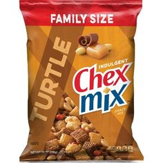 Chex Indulgent Turtle Snack Mix, 14 Ounce >>> Remarkable product available : Fresh Groceries Chex Mix Recipes, Gourmet Recipes, Snack Recipes, Chocolate Turtles, Salty Snacks, Exotic Fruit, Potato Chips, Sweet And Salty, Food Print