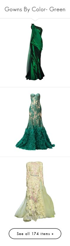 """Gowns By Color- Green"" by kristylynn528 ❤ liked on Polyvore featuring dresses, gowns green, gowns, edit, green, gown, full length gowns, backless gown, lace-up dresses and backless evening dresses"