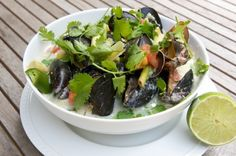Coconut Mussels ~ recipe from Chef Michael Salmon at the Hartstone Inn, Camden.  Thai flavors with local mussels - two of my favorites!