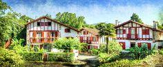 Basque Houses In Ainhoa 2- Vintage Version by Weston Westmoreland
