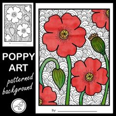 Poppy art for Anzac Day, Veterans Day, Memorial Day, Armistice Day or Remembrance Day. Coloured poppies on a black and white patterned background.2 DESIGNS:Poppies with stemsPoppy flower only3 TEMPLATES FOR EACH DESIGN:With patterned backgroundNo patterned background (draw your own)Coloured example... School Resources, Classroom Resources, Art Classroom, Background Drawing, Background Patterns, Poppy Template, Anzac Poppy, Armistice Day, Anzac Day