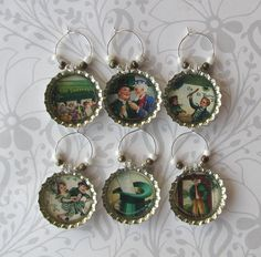 St. Patrick's Day Wine Charms - Vintage Altered Art Images