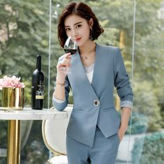 2 Pieces Pant Suits Set, Women's Office Lady Outfits Business Work Formal Pants Blazer Set - - 2 Pieces Pant Suits Women Office Lady Outfits Business Work Formal Pants Blazer Set Fashion Trousers Jacket Female Coat Clothing Source by tatihdenise Suit Fashion, Fashion Outfits, Fashion Usa, Fashion Rings, Formal Pants Women, Formal Jackets For Women, Coats For Women, Clothes For Women, Ladies Coats