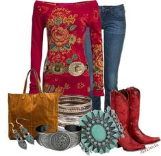"""Cowgirl in Red"" by dixi3chik on Polyvore"