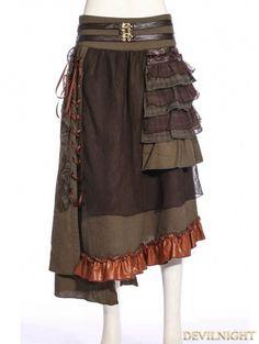 Brown Steampunk Splicing Long Skirt