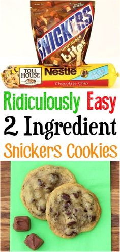 Low Carb Recipes To The Prism Weight Reduction Program Chocolate Chip Cookies No Butter Easy 2 Ingredient Recipes For A Crowd Like This Snickers Treat Are Great Dessert Table Ideas Cookies Ingredients, 2 Ingredients, 4 Ingredient Desserts, 4 Ingredient Cookies, Winter Desserts, Christmas Desserts, Christmas Recipes, Christmas Cookies