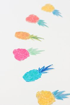 Lovely Watercolor Pineapples to print and use as a garland or tags or placecards etc!