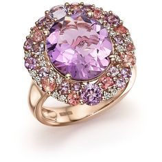 Purple Amethyst, Pink Amethyst, Pink Tourmaline and Diamond Cocktail... ($3,500) ❤ liked on Polyvore featuring jewelry, rings, diamond rings, purple amethyst ring, pink tourmaline ring, 14k rose gold ring and statement rings