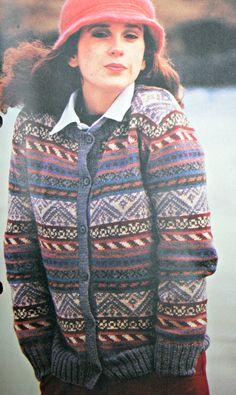 Knitting Pattern Ladies Fair Isle Cardigan Sizes by elanknits