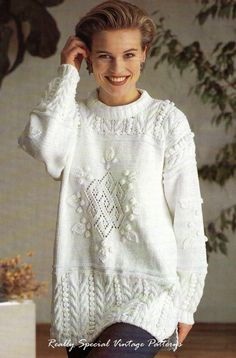 Stunning Tunic Sweater Knitting Pattern DK by PamoolahVintage, $3.75