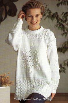 Stunning Tunic Sweater Knitting Pattern DK by PamoolahVintage, $3.75