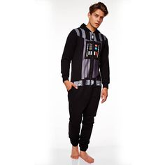 Star Wars Darth Vader Onesie Star Wars Darth Vader for Men in black made of 65% polyester, 35% cotton. Officially licensed product. (Barcode EAN=5055437905140) http://www.MightGet.com/january-2017-13/star-wars-darth-vader-onesie.asp