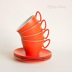 4 x Vintage Retro 1970s Orange GAYDON Melmex Cups & Saucers by UpStagedVintage on Etsy