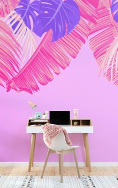 Make a statement with your interior styling, with a maximalist design like this pink and purple tropical leaf wallpaper. Tropical Wallpaper, Pink Wallpaper, Murs Roses, Neon Licht, Pink Home Decor, Art Deco Buildings, Tropical Leaves, Bird Prints, Bright Pink