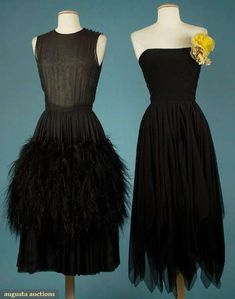 Two Black Chiffon Evening Dresses, 1950s, Augusta Auctions, November 2009 Museum Fashion & Textile Sale, Lot 252