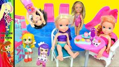 Barbie Life in the Dreamhouse Chelsea Play Date Pool Frozen Anna and Els...