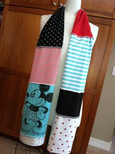 UPCYCLED tshirt scarf Mickey Mouse Disney - this would be easy to make... super cute!