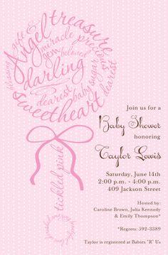 Rattle Script Pink Invitation | Zurianas Elegant Occasions