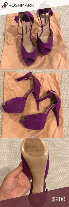 8fb256457a21 Miu Miu Suede Heels Miu Miu Suede Heels - like New! Shoe bags included Miu