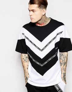 Jaded London Longline T-Shirt in Skater Fit With Taping