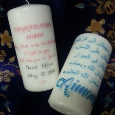 All done!  Made for a lovely sister who will be giving these as Madrasa graduation gift!   To order yours, please email, text, or direct message me  #kayshenna #candlelight #candles #candle #arabic #islamic #islam #Quran #ayah #muslim #muslimah #calligraphy #madrasa #jalsa #graduation #gifts #personalized #customized #customgifts Personalized Candles, Islam Quran, Islamic Calligraphy, Graduation Gifts, Pillar Candles, Customized Gifts, Muslim, Messages, Personalized Gifts