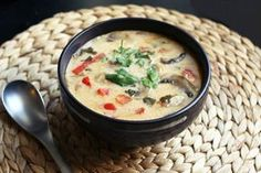 Tom Kha Gai or Thai Coconut Soup is a creamy, rich, comforting soup loaded with flavors and aromatics.
