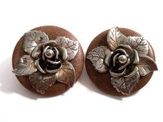 Vintage Large  Statement Earrings Wood Cast by VisionsOfOlde
