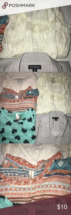 Lot of Junior Shirts Lot of 4 shirts and 1 cardigan. All fit size 15-17. Tops Blouses