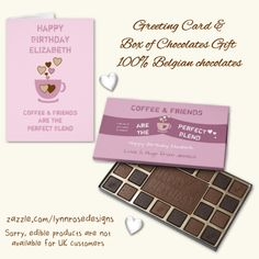 Give the gift of decadence with a custom chocolate box filled with 100% premium Belgian chocolate. Coffee & Friends are the perfect blend, brown Box of Chocolates and a Greeting card #zazzle #Lynnrosedesigns