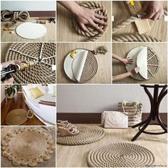 This DIY rope rugs are cheap and easy to make in your own home. Try making some in your home, and you will not regret. You will have fascinating home decor and everyone will envy you. Be creative and have a fun! What you need: Rope Knife Tap Silicone adhesive Dense fabric tarpaulin Pinterest Facebook