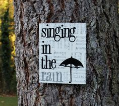"""11x14 """"Singing in the rain"""" vintage sheet music hand stamped/hand painted by Houseof3"""