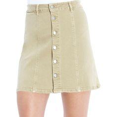 Jessica Simpson Aline Mini Skirt (160 CNY) ❤ liked on Polyvore featuring skirts, mini skirts, khaki, short mini skirts, short skirts, short khaki skirt, button front skirt and mini skirt