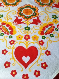 60s Swedish vintage tablecloth. Decorative floral Scandinavian pattern. Sweden 1960s retro hearts flowers red orange yellow