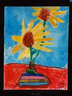 Van Gogh Zonnebloemen groep 4 met wasco en ecoline