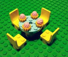 LEGO Custom Furniture - Blue (Azure) Kitchen Table and Yellow Chairs with Strawberry Ice Cream in a Bowl! Food  #LEGO #LEGOModular #LEGOFurniture #LEGOKitchen